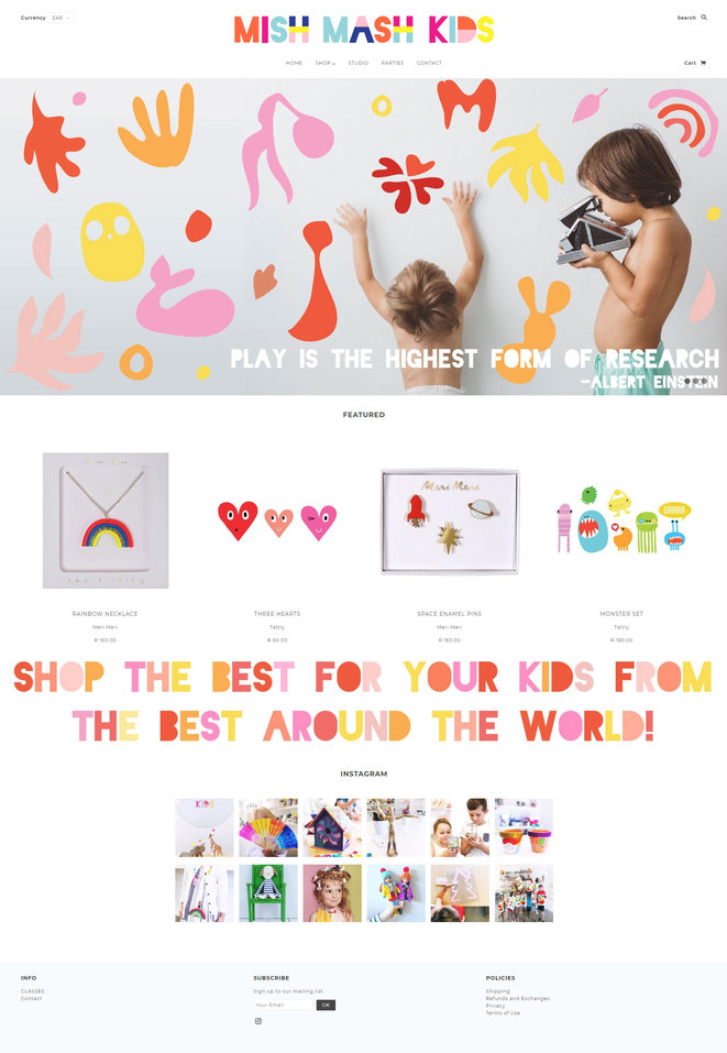 full page image of shopify web design for kids toy and craft store Mish Mash Kids