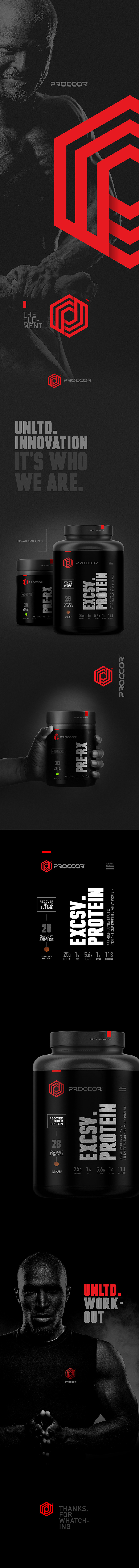 Presentation image showcasing branding elements such as logo design and product design for supplement company Proccor
