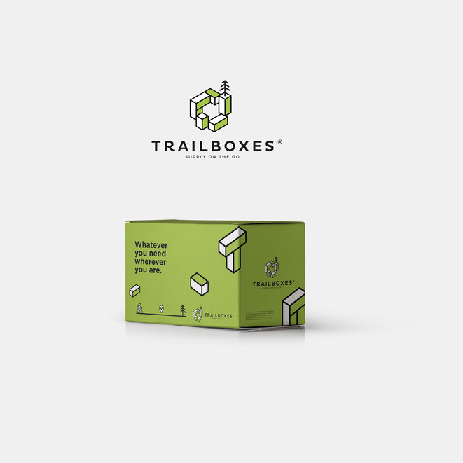 Presentation image showcasing logo design and packaging design for Trailboxes